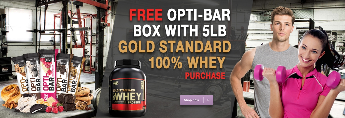 Buy 1 Gold Standard 100% Whey 5lb and get 1 box of Opti-Bars FREE. Make your flavor selections below.