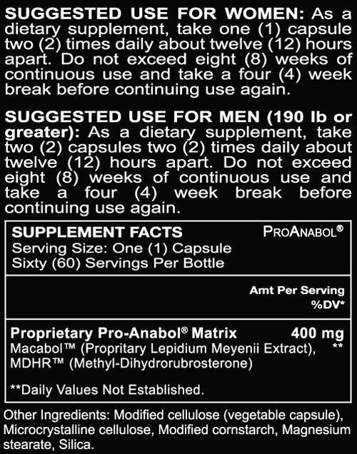 ALR Industries Pro Anabol 60 capsules Supplement Facts