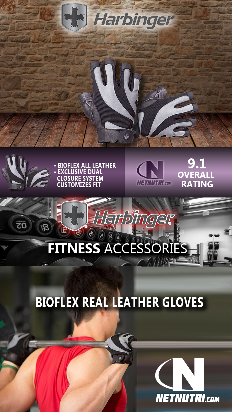 Harbinger BioFlex Real Leather Gloves sale at netnutri.com