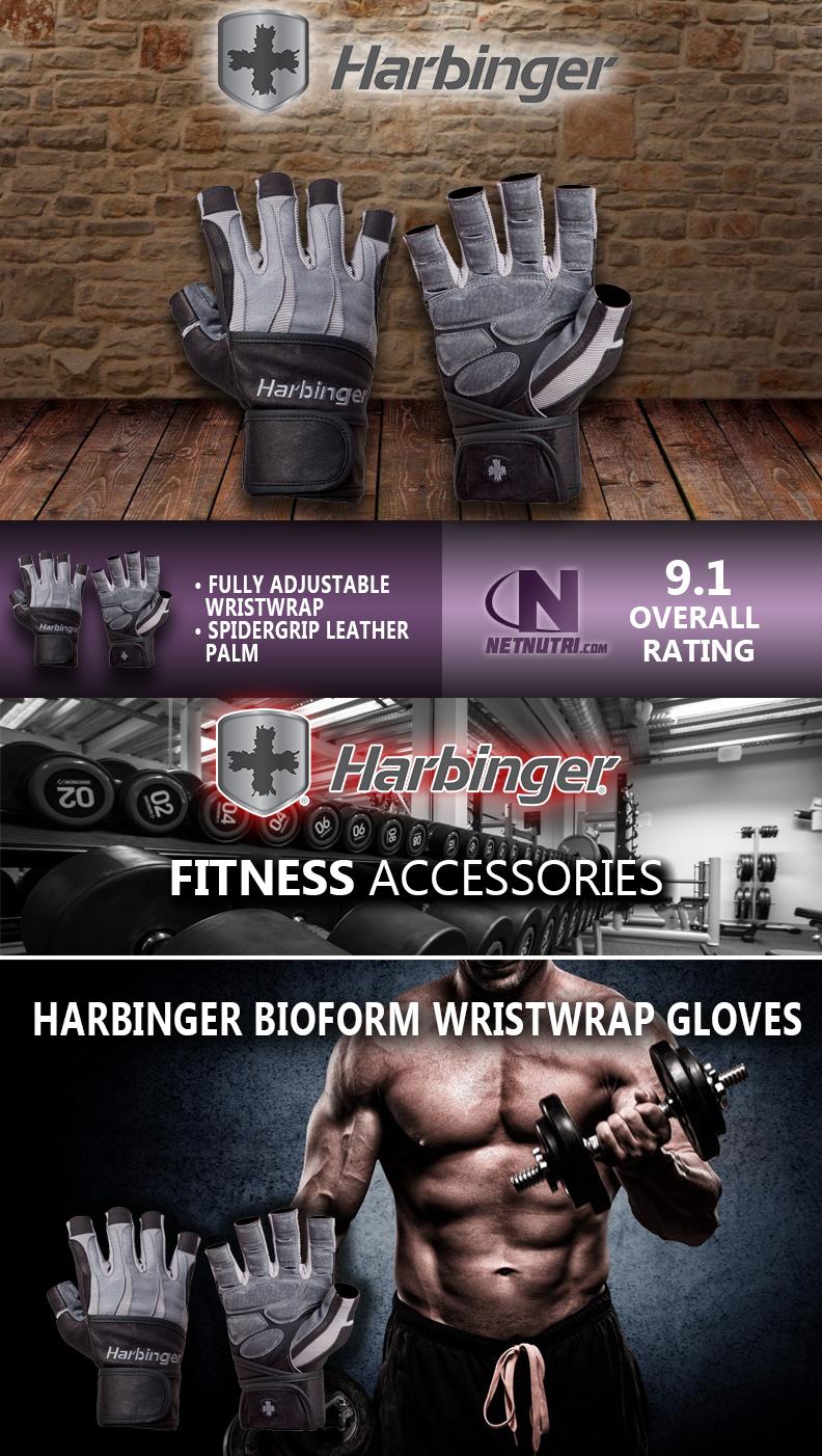 Harbinger BioForm WristWrap Gloves sale at netnutri.com