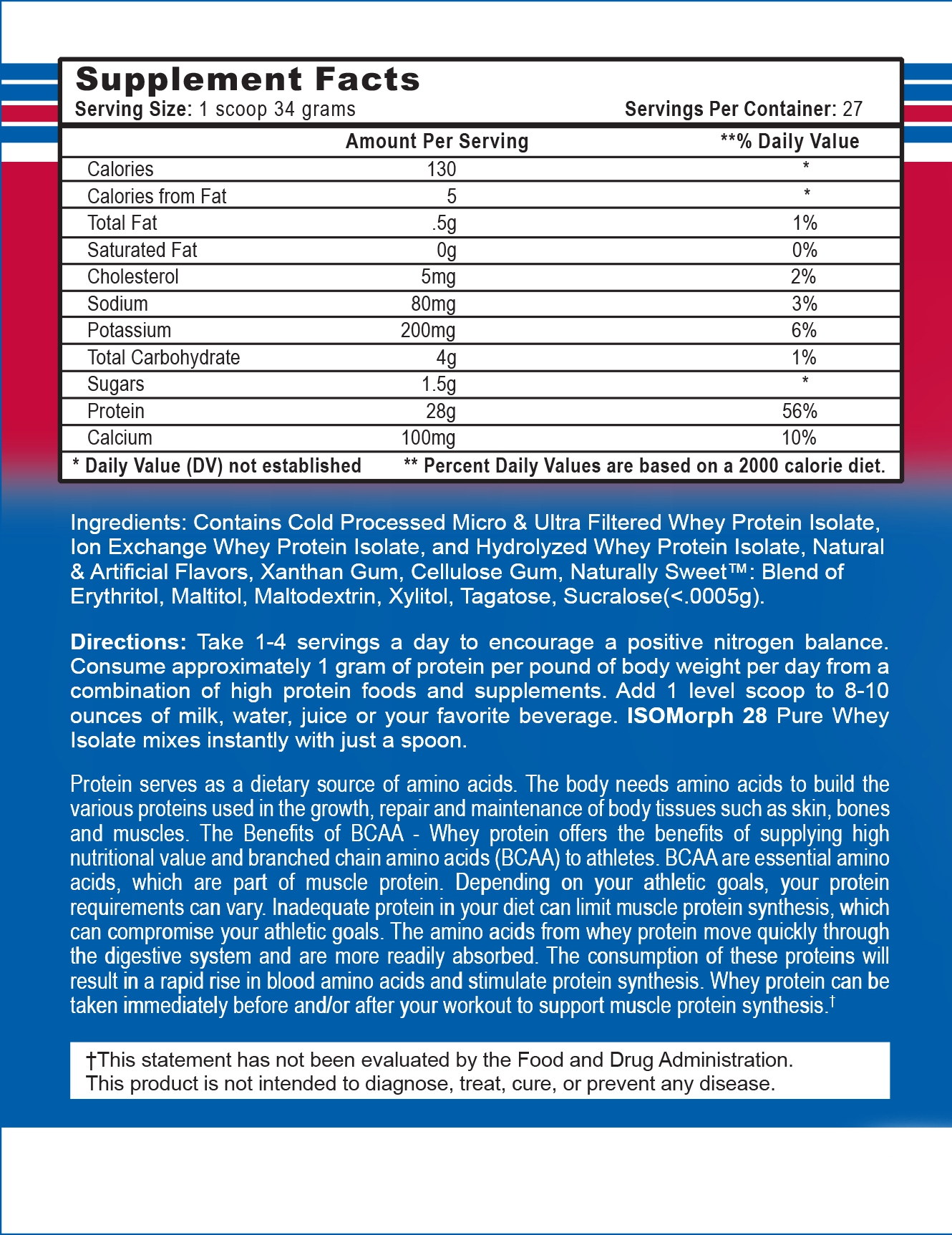 Isomorph supplement facts
