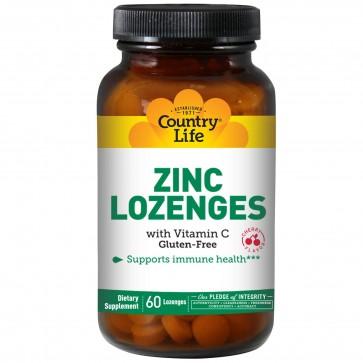 Country Life Zinc Lozenges with Vitamin C Cherry Flavor 60 Lozenges