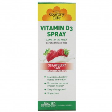 Country Life Vitamin D3 Spray 2,000 I.U. (50 mcg) Strawberry Flavor 150 Sprays