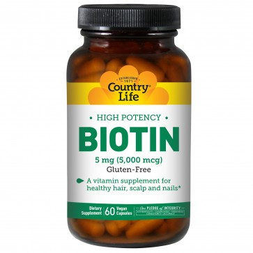 High Potency Biotin 5 Mg 60 Vegetarian Capules By Country Life