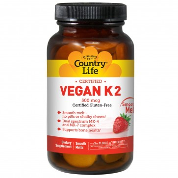 Country Life Vegan K2 Smooth Melts 500 mcg 60 Tablets