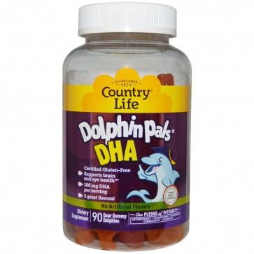 Country Life- Dolphin Pals DHA Gummies For Kids 100 mg, 90 Sour Gummies