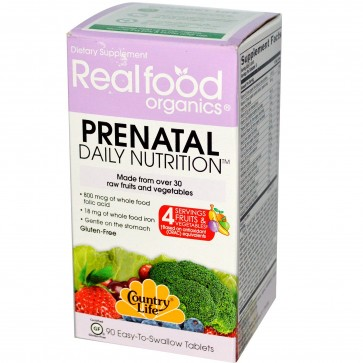 Country Life Real Food Organics Prenatal Daily Nutrition 90 Tablets