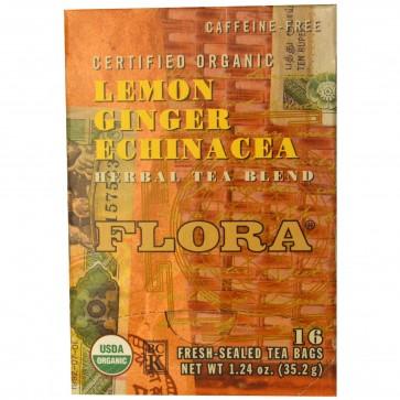 Flora Inc Herbal Tea Blend Certified Organic Lemon Ginger Echinacea Caffeine Free 16 Tea Bags 1.24 oz (35.2 g)