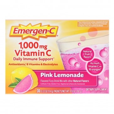 Alacer Emergen-C Flavored Fizzy Drink Mix 1000 mg Vitamin C Pink Lemonade 36 Packets