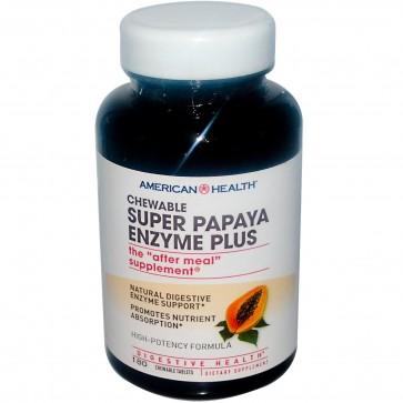 American Health Super Papaya Enzyme Plus Chewable 180 Chewable Tablets