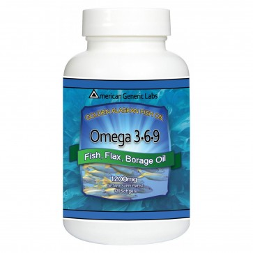 American Generic Labs Omega 3 6 9 Fish Flax Borage Oil 120 softgels