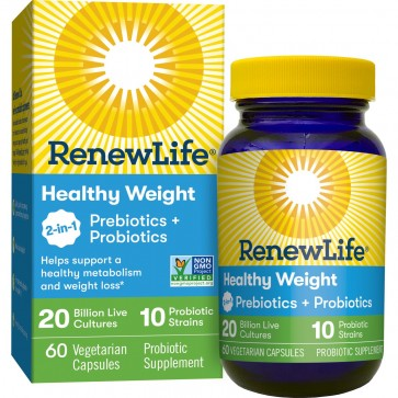 Renew Life Healthy Weight Probiotics + Prebiotics 20 Billion 60 Vegetarian Capsules