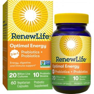 Renew Life Optimal Energy Probiotics + Prebiotics 20 Billion 60 Vegetarian Capsules