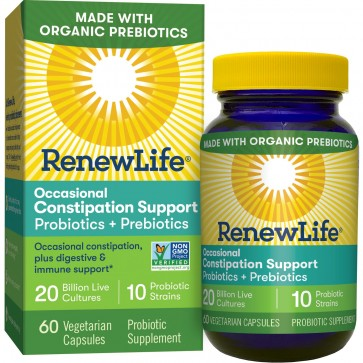 Renew Life Occasional Constipation Support 20 Billion 60 Vegetarian Capsules