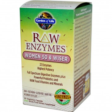 Garden of Life RAW Enzymes Women 50 & Wiser 90 Vegetarian Capsules