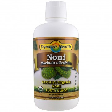 Dynamic Health Laboratories Organic Certified Noni Juice from Tahiti, Raspberry Flavor, 32 fl oz (946 ml)