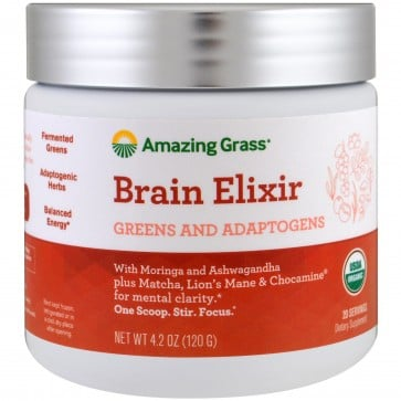 Amazing Grass Brain Elixir Greens and Adaptogens 4.2 oz (120g)