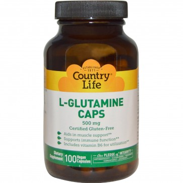 Country Life L-Glutamine Caps 500 mg 100 Vegan Caps