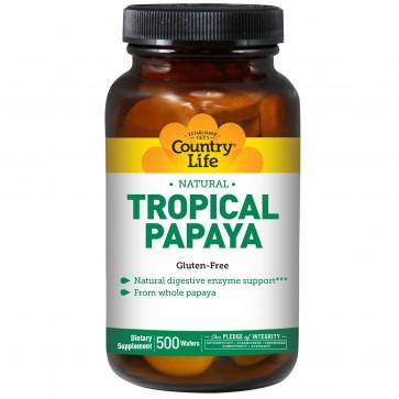 Country Life- Natural Tropical Papaya 25 mg- 500 Chewable Wafers