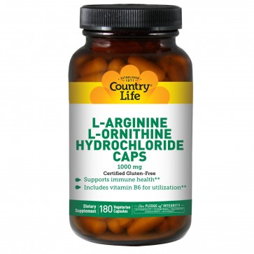 Country Life Arginine Orthinine 1000 Mg With B-6 180 Capsules