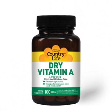 Country Life Dry Vitamin A 3,000 mcg 100 Tablets