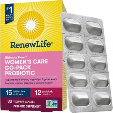 Renew Life Ultimate Flora Probiotic Women's Care 15 Billion Go Pack 30 Vegetable Capsules