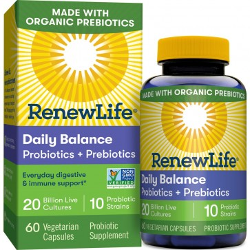 RenewLife Organic Daily Balance Probiotics + Prebiotics 60 Vegetable Capsules