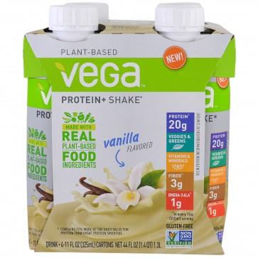 Vega Protein + Shake Vanilla Flavored 4 Cartons 11 oz (325 ml) Each