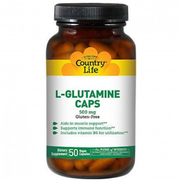 Country Life - L-Glutamine Caps with B-6 500 mg. - 50 Capsules