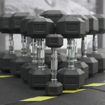 G-Fitness Rubber Encased Hex Dumbbell