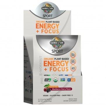 Garden of Life Sport Organic Plant-Based Energy + Focus Sugar Free Blackberry Cherry 12 Packets