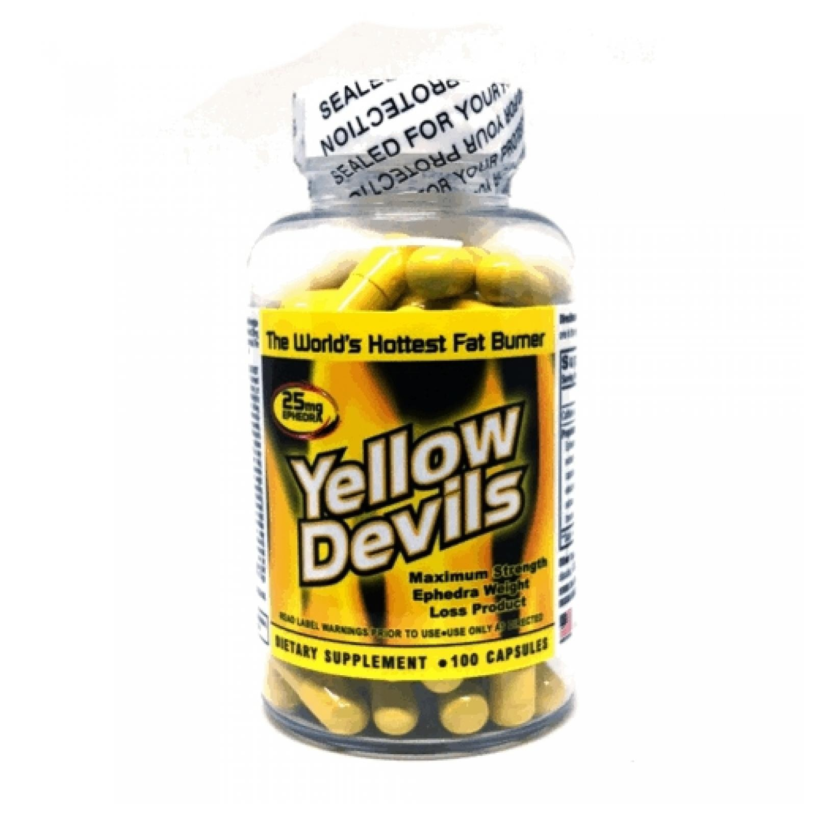 Yellow Devils 25 mg Ephedra 100 Capsules by American Generic Labs | yellow devil diet pill