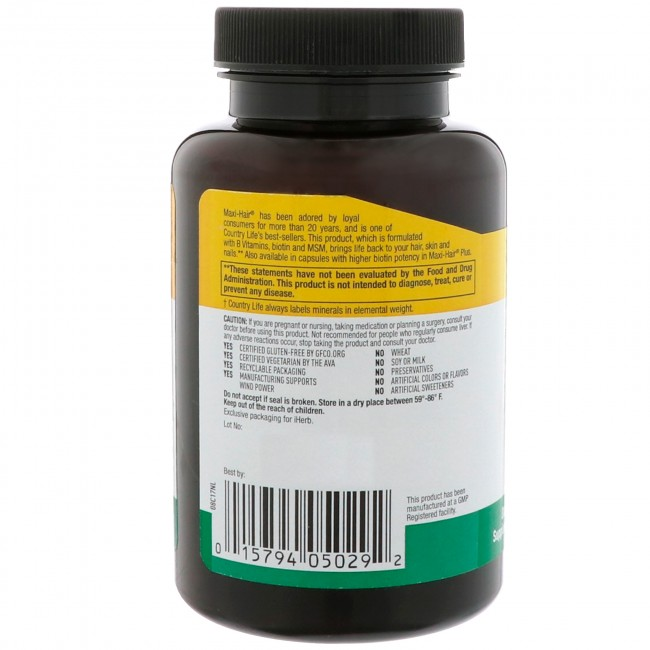 Maxi Hair Maximized 90 Tablets By Country Life