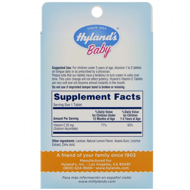 Vitamin C 25mg 125 Tablets For Baby S By Hyland S