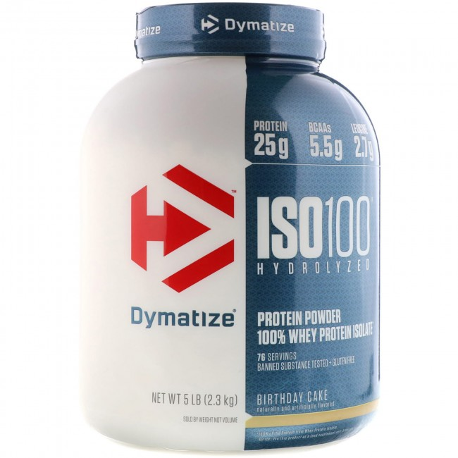 Dymatize Nutrition ISO-100 100% Whey Protein Isolate Birthday Cake 5 lbs