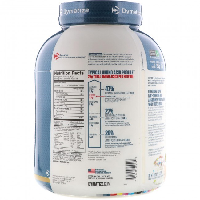 Dymatize Nutrition ISO 100 Whey Protein Isolate Birthday Cake 5 Lbs