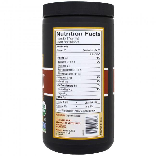 Barlean S Natural Nutrition Forti Flax 100 Organic 16 Oz
