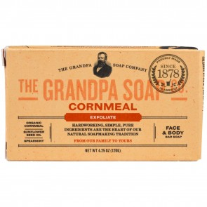 Grandpa's, Face & Body Bar Soap, Exfoliate, Cornmeal, 4.25 oz (120 g)