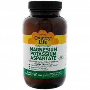Country Life Magnesium Potassium Aspartate 180 Tabs