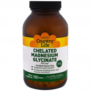 Country Life Chelated Magnesium Glycinate 400mg 180 Tablets