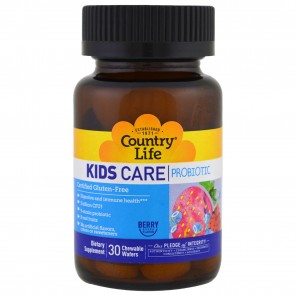 Country Life Kids Care Probiotic Berry Flavor 30 Chewable Wafers