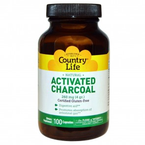 Country Life Activated Charcoal 260 mg (4 g) 100 Capsules