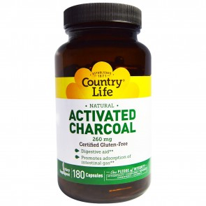 Country Life Activated Charcoal 260 mg 180 Capsules