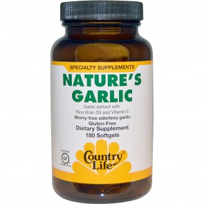 Country Life Gluten Free Nature's Garlic 180 Softgels