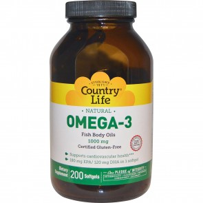 Country Life Omega-3 Fish Body Oils 1000 mg 200 Softgels
