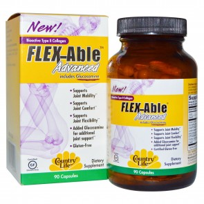 Country Life Flex Able Advanced Includes Glucosamine Bioactive Type II Collagen 90 Capsules