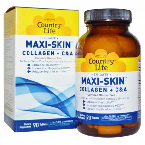 Country Life Tri-Layer Maxi Skin Collagen + C&A 90 Tablets