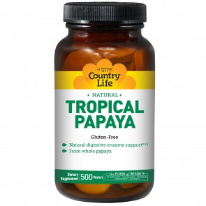 Country Life- Natural Tropical Papaya 25 mg- 500 Chewable Wafers