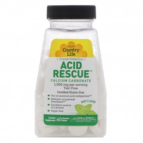 Country Life Acid Rescue 1,000 mg Mint Flavor 60 Chewable Tablets
