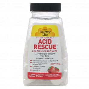 Country Life Acid Rescue 1,000 mg Berry Flavor 60 Chewable Tablets